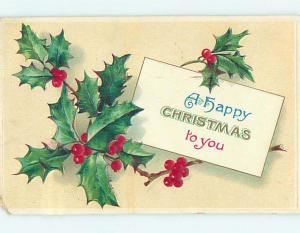 Divided-Back christmas HOLLY WITH LITTLE NOTE o3850