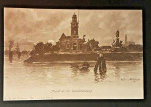Mint Vintage Germany Krause-Wickmann Lighthouse River Bend Illustrated Postcard
