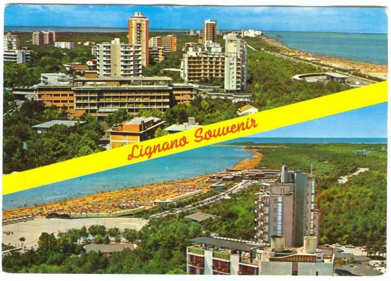 Italy, LIGNANO PINETA, La Spiaggia, Der Strand, used Postcard