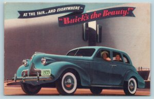 Postcard Dealer Automobile AD 1939 Buick's The Beauty at The Worlds Fair AE4