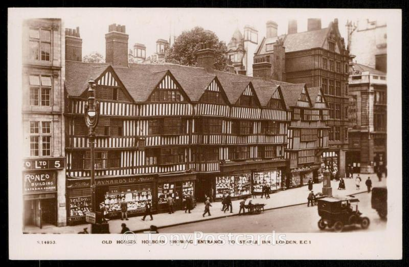 OLD HOUSES,HOLBORN SHOWING ENTRANCE TO STAPLE INN