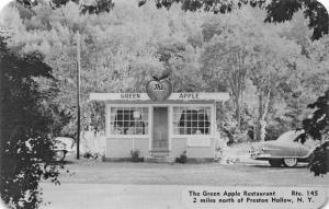 Preston Hollow NY The Green Apple Drive-In Restaurant Old Car Postcard