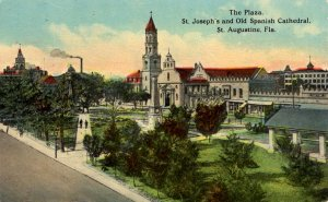 St. Augustine, Florida - The Plaza showing St. Joseph's & Old Spanish Catheral