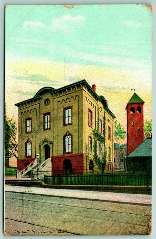 New London CT Old City Hall~Cornices, Wrought-Iron Fence~Round Window~Tower 1910