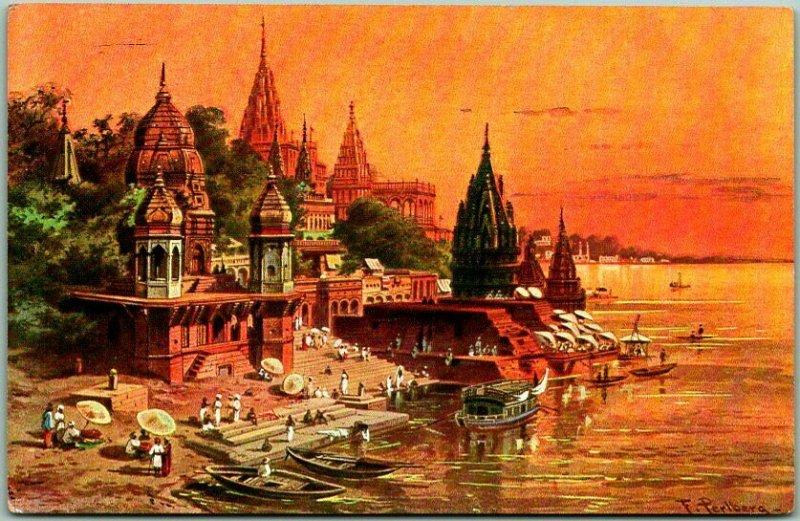 Vintage BENARES (Varanasi) INDIA Postcard Ganges River Scene c1910s Unused