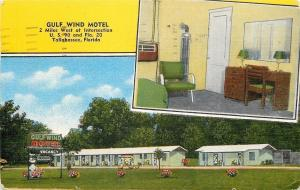 Tallahassee FL~Gulf Wind Motel~Front View~Room View~1940s Linen Roadside