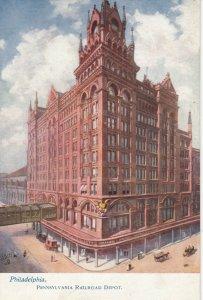 PHILADELPHIA, PA, 1901-07; Pennsylvania Railroad Depot, Train Arriving; TUCK7437