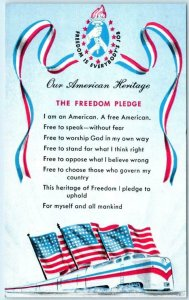 1948 FREEDOM TRAIN Postcard THE FREEDOM PLEDGE Flags Freedom is Everybodys Job