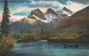 Three Sisters, Near Banff, Alberta, Canada,  Early Postcard, Unused