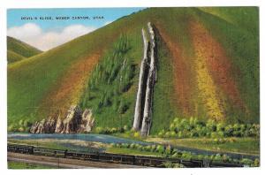 Weber Canyon Utah Devil's Slide Vintage Linen Postcard