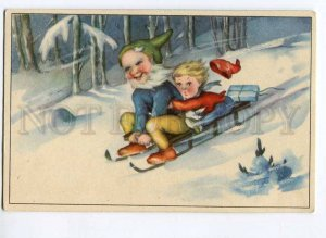 262625 NEW YEAR Kid GNOME on Sled Vintage postcard