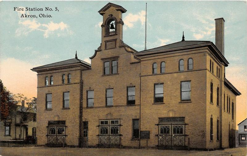 F27/ Akron Ohio Postcard c1910 Fire Department Station No 5
