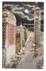 Times Square Night New York NY Vintage ca 1910 Postcard