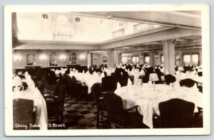 RPPC~SS Brazil (SS Virginia) WWII Troop Ship~Formal Dining Salon Inside~1938-42