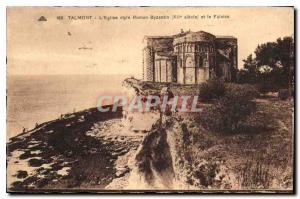 Old Postcard Talmont Church Roman Byzantine style and Cliff