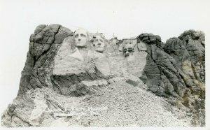 RPPC Postcard Mount Rushmore Construction - Half of Lincoln