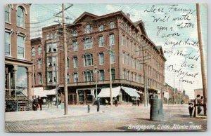 Bridgeport Connecticut~Atlantic Hotel & Street Scene~Little Boy on Right~1906