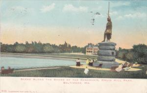 BALTIMORE, Maryland, PU-1907; Scene Along The Shore Of The Reservoir, Druid H...