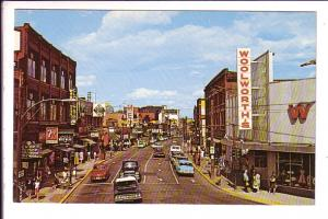 Main Street, East, Moncton, New Brunswick, Woolworth's, 7up, MED etc. Signs,