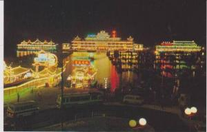 #98: Neon Night View of Aberdeen w/ Floating Restaurants, Southern District, ...