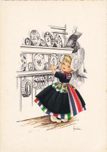 Dutch Girl Putting Plate On Shelf Signed Frankie