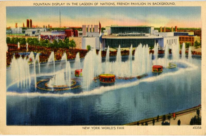 NY - New York World's Fair, 1939. Lagoon of Nations Fountains & French Pavilion