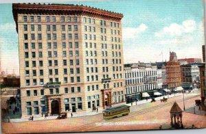 Michigan Detroit Trolley At Hotel Pontchartrain 1908