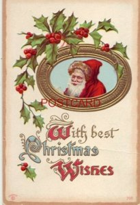 1911 WITH BEST CHRISTMAS WISHES an elfin Santa with holly Embossed