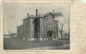 Salem New York~Washington Academy Entrance, Grounds & Neighbors~'05 B&W Postcard
