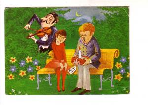 Janne Waitiu, Couple on Outdoor Bench with Man Playing Violin, Ingvar Larson ...