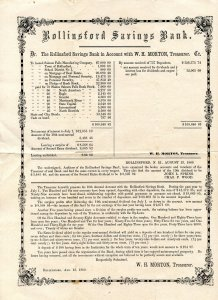 Rollinsford (NH) Savings Bank Annual Statement, 1860.    (11.5 X 8.875)