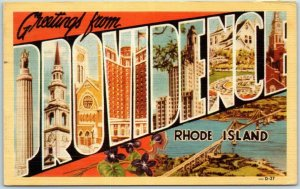 Vintage PROVIDENCE RI Large Letter Postcard w/ Aerial View DEXTER Linen 1945
