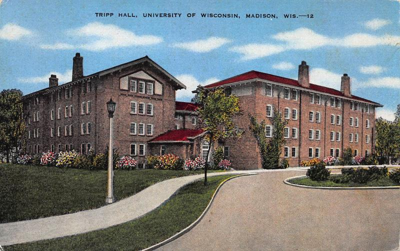 Tripp Hall, University of Wisconsin, Madison, WI, Linen Postcard