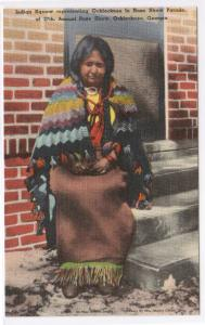 Ochlocknee Native American Indian Woman Rose Parade Georgia linen postcard