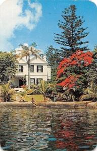 Bermuda blue water reflection, Poinciana, typical house 1959