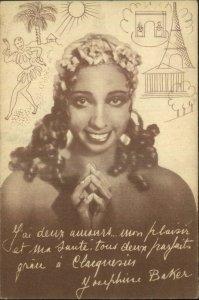 Black Americana Beautiful Josephine Baker CLACQUESIN Advertising Postcard