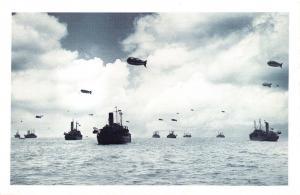 Nostalgia Postcard WW2 1942 Coastal Convey with Kite Balloons Repro Card NS25