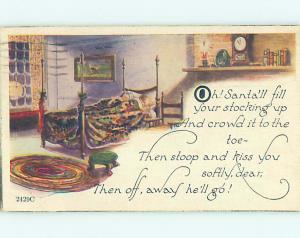 Pre-Linen christmas KIDS SLEEPING IN ANTIQUE BED HQ6279