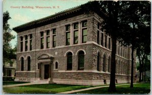 Watertown, New York Postcard County Building Front View Leighton 1911 Cancel