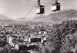 France Grenoble Teleferique de la Bastille Croisement des deux bennes 1964