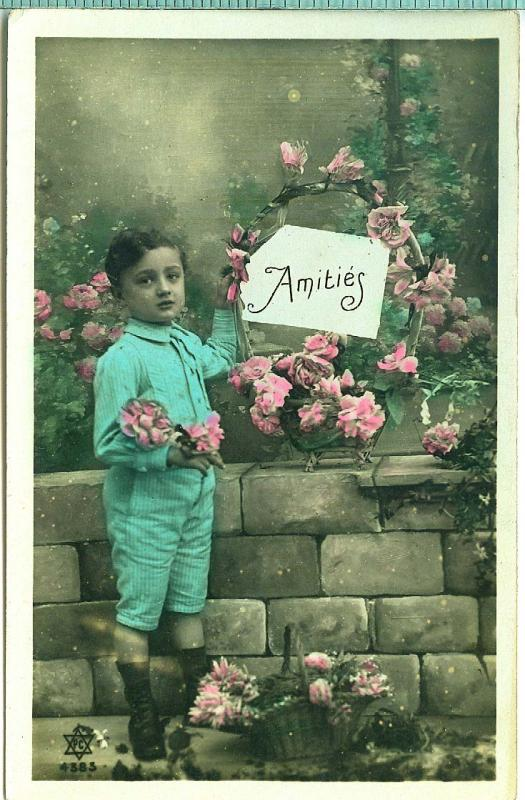 Hand Colored, Boy w Flowers, Amities