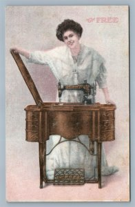 SIOUX CITY IA ORCUTT CO FREE SEWING MACHINE ADVERTISING ANTIQUE POSTCARD