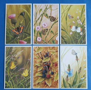 Set of 6 British Butterflies Postcards (Set 1) No.1-6 by Geoff White Ltd