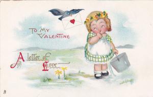 TUCK #25, VALENTINE, A Letter of Love, Little girl, Bird w/letter, 00-10s