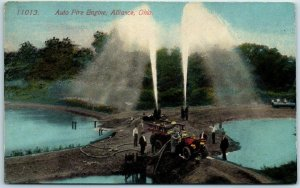 Alliance, Ohio Postcard Auto Fire Engine Truck w/ Hoses & Crew - 1913 Cancel
