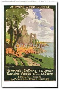 Old Postcard Train Railways of Britain & # 39Etat Normandy Island of Jersey T...