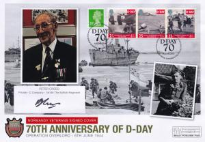 Peter Creed Gloucestershire Suffolk Regiment Hand Signed WW2 D-Day FDC