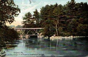 Maine Portland Smith's Bridge On The Road To Underwood Springs 1908