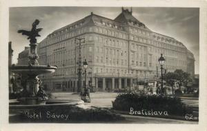 Eastern Europe Slovakia Bratislava Hotel Savoy real photo postcard