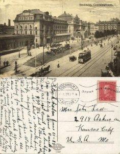 sweden, STOCKHOLM, Centralstationen, Tram (1927) Postcard